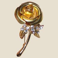 Beautiful Vintage Goldtone & Rhinestone Rose Pin