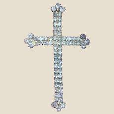"2 3/4"" Victorian Revival Rhinestone Cross Pin"
