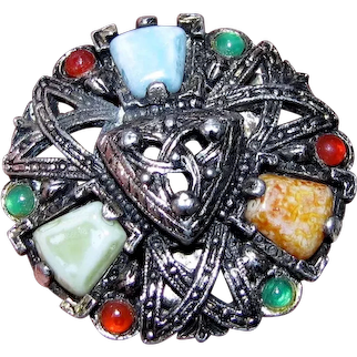 Celtic Inspired Pewter Toned Pin w/ Colored Cabs