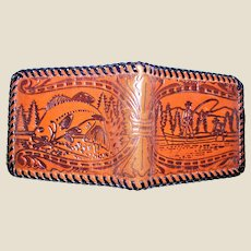 Men's Leather Wallet Fine Hand Tooled Embossed Fisherman & Fish Décor, Whipstitch, Brown, Like New