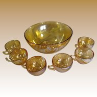 Beautiful Camellia 7 Piece Egg Nog Set by Jeannette Glass