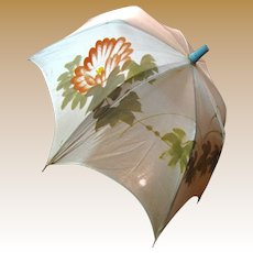 Prettiest Vintage Hand Painted Silk Parasol for Large Bisque Doll
