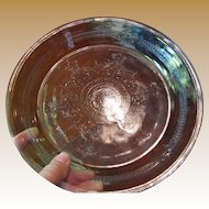 """Nice Fire King Vintage 9"""" Philbe Sapphire Blue Glass Floral Pie Dish"""