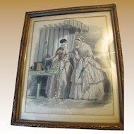 "Circa 1840's ""Le Moniteur de la Mode"" Original Framed Fashion Plate"
