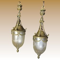 Pair Edwardian Converted Gas Drop Lamps w/ Etched Satin Glass Shades
