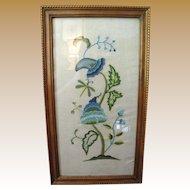 Nice Vintage Crewel Wool Work Paisley Style Framed Needlework