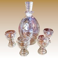 Beautiful Art Deco Etched Decanter with Four Matching Romer Glasses