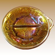 Pretty Marigold Iridescent Carnival Glass Divided Bowl