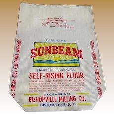 Vintage Sunbeam Unused 2lb Paper Flour Bag Bishopville SC