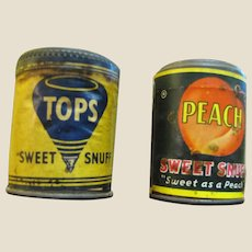 Pair of  Vintage Snuff Tins  with Paper Labels Never Opened