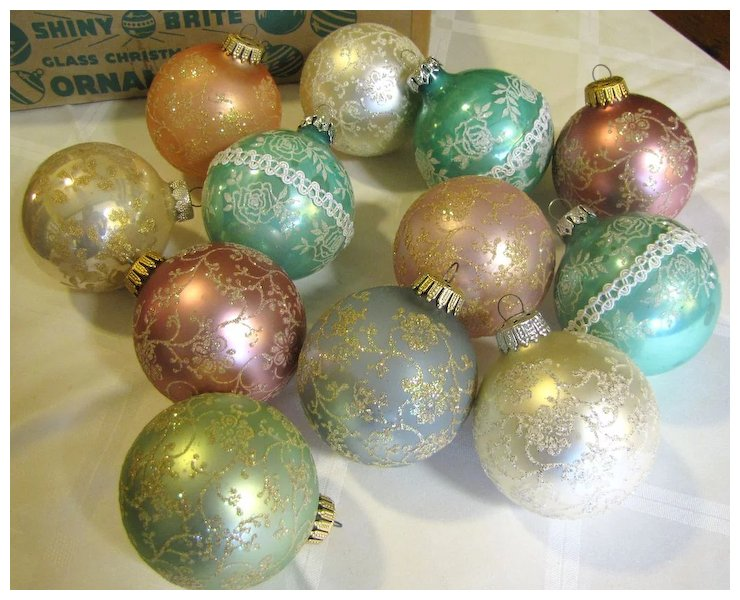 Nice Box Of 12 Frosted Vintage Pastel Tree Ornaments Sold Ruby Lane