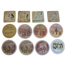 Unusual Collection of 12 Vintage Advertising (German Beer) Coasters / Mats with Great Graphics‏