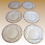 Nice Set of 6 French Glcoloc Gilt Crystal Salad Plates