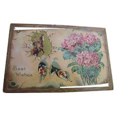 1919 Best Wishes Card with Horse & Rider, Dog Hounds and Flowers!