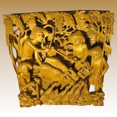 Deep Relief Bali Carving, Men, Birds, Cattle, Stunningly Three Dimensional!