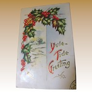 Yule-Tide Greeting Embossed PostCard circa early 20th Century, Christmas Card
