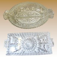 Great Pair of Vintage Pressed Glass Relish Servers