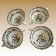 Beautiful Set of 4 Coalport Ming Rose Bullion Cups