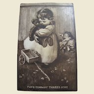 "1910, Cute Postcard  ""Two's Company Three's None"""