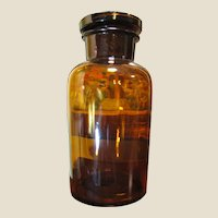 Antique Amber Glass Apothecary Jar 1000ml - Jar & Lid Ground, circa 1910‏