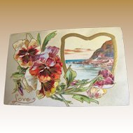 """1910, """"Love"""" Embossed Post Card copyright 1910, series 108 K, This card is blank."""