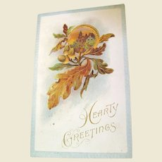 """1914, """"Hearty Greetings"""" Embossed Postcard Copyright 1910"""