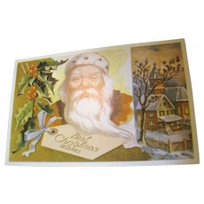 """""""Best Christmas Wishes"""" Santa Christmas Post Card - Red Tag Sale Item"""