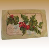 """""""Christmas Greetings"""" Embossed Postcard no.794 Made in Boston Mass 1906"""