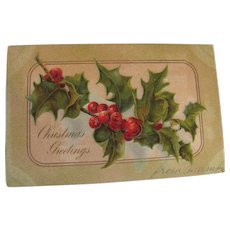 """Christmas Greetings"" Embossed Postcard no.794 Made in Boston Mass 1906‏"