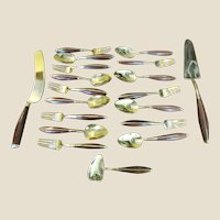 Lovely Gilt BronzeThai Hand Made 19 Piece Dessert Cutlery Set