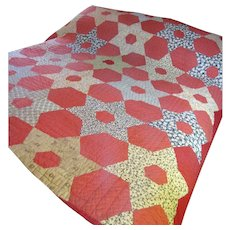 Hand Stitched Antique Calico Quilt, Warm Rich Colors!