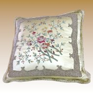 Stunning Oriental Silk Satin Ornately  Embroidered & Beaded Pillow