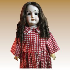 Darling Red and White Flannel Winter Dress for Larger Bisque Doll
