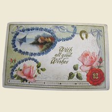 """""""With all good Wishes"""" Embossed Wedding Postcard Early 20th Century"""