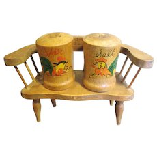 Nice Pair of Rooster Decorated Salt & Pepper Shakers, with Bench Holder