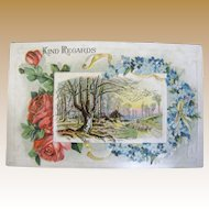 "1910 ""Kind Regards"" Embossed Postcard‏"