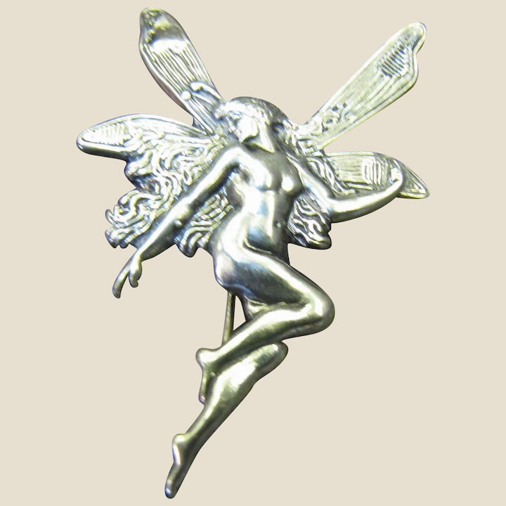 Vintage Art Nouveau Style Sterling Flying Fairy Pin