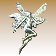 Beautiful Sterling Silver Art Nouveau Style Flying Fairy Pin, So Pretty!