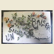 """1907 French Postcard """"Un Baiser"""" A Kiss signed and printed by ELD"""