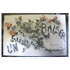 "1907 French Postcard ""Un Baiser"" A Kiss signed and printed by ELD‏"