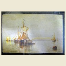 """Early 20th century, """"Under Venetian Skies"""" Postcard from painting by H. Romanie ,"""