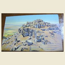 """""""The Mesa and Old Walpi"""" mid 20th Century Postcard"""