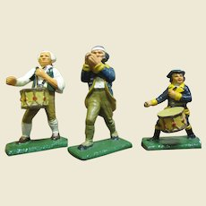 Three Vintage Commenorative Cast Metal Revoluntionary War Figurines