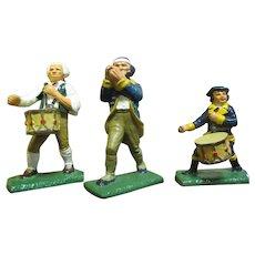 Three Vintage Commenorative Cast Metal Revoluntionary War Figurines
