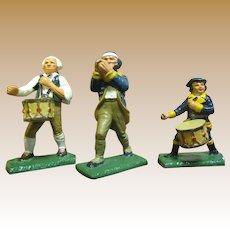 Three Vintage Commenorative Cast Iron Revoluntionary War Figurines