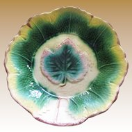 Superb Majolica Grape Leaf Large Bowl, with Speckled Back