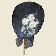 "Lovely Victorian Hand Painted Silk ""Forget Me Not"" Mourning Fan"