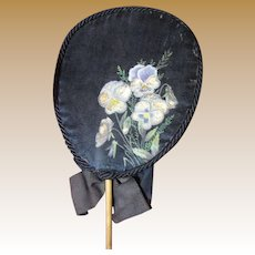 """Lovely Victorian Hand Painted Silk """"Forget Me Not"""" Mourning Fan"""