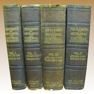 1898 Rare First Edition 4 Vol. Set,The Elements of Mechanical Engineering