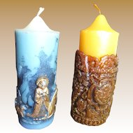 Fun Pair of Vintage Figural Christmas Candles